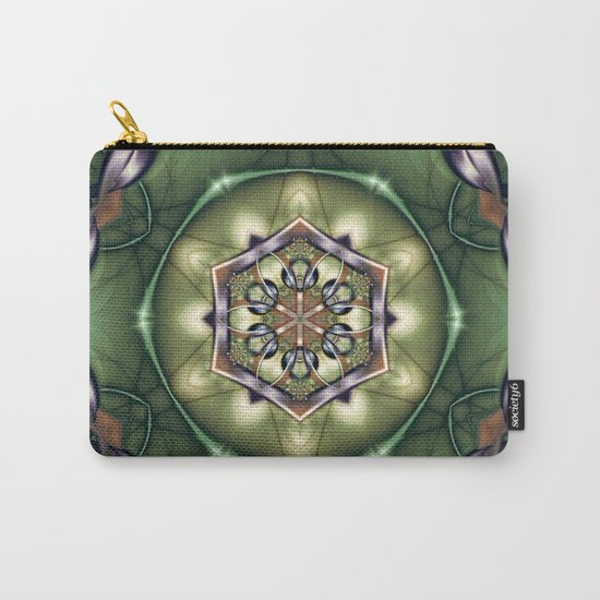 Mystery Mandala in Green Carry-All Pouch