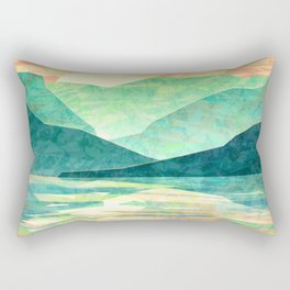 Spring Sunset over Emerald Mountain Landscape Painting Rectangular Pillow
