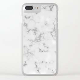 Dove Gray Marble With Soft Silver Veins Clear iPhone Case