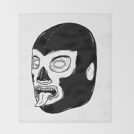 Black Luchador Throw Blanket