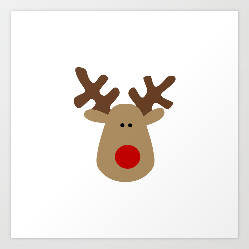 Christmas Reindeer White Art Print By Ts55 Society6