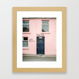 """Travel photography print """"Pastel pink bakery in Dingle Ireland"""" - Blue and pink print door Framed Art Print"""
