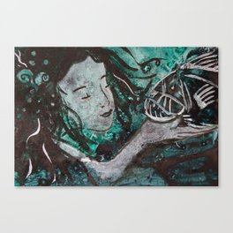 And I Shall Call Him 'Spot'  ( Mermaid and fangtooth ) Canvas Print