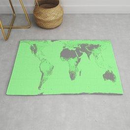 World Map : Gall Peters Seafoam Green Rug