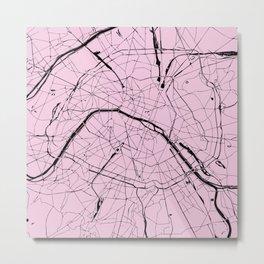 Paris France Minimal Street Map - Pretty Pink on Black Metal Print