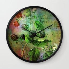 Blackberry Music, Vintage Botanical Illustration Collage Art Wall Clock