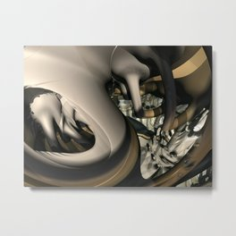 Rotund Canals (3D Fractal Digital Art) Metal Print