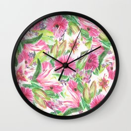 Pink Floral Print Wall Clock