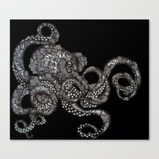 Barnacle Octopus in Black Canvas Print