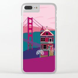 San FranciscoPainted Ladies and Golden Gate Clear iPhone Case