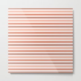 Peach and Terra Cotta Stripes Pattern Metal Print