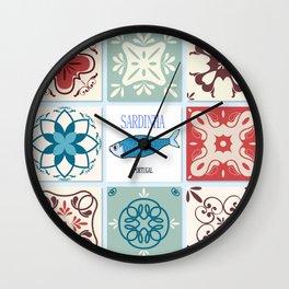 Sardines azulejos Wall Clock