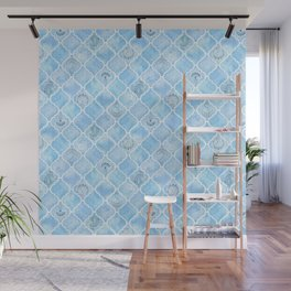 Watercolor Arabesque Tiles with Art Nouveau Focal Designs in Blue Wall Mural