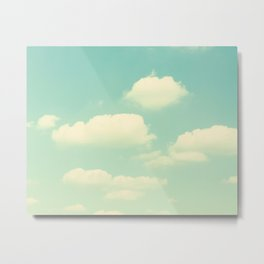 Mint Turquoise Sky Clouds, Teal Nursery Cloud Photography, Baby's Room Photo Metal Print