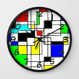 Homage to Piet Mondrian Wall Clock