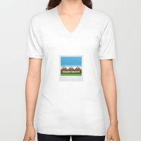 hiking V-neck T-shirts featuring Hiking Society by klausbalzano