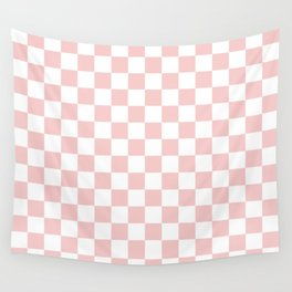 Gingham Pink Blush Rose Quartz Checked Pattern Wall Tapestry