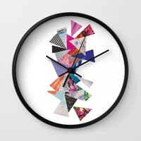 triangles Wall Clocks featuring Triangles by Lydia Coventry
