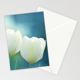 Aqua Blue Tulip Photography, Teal Turquoise White Flowers, Floral Nature Stationery Cards