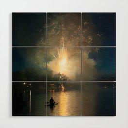 Fireworks on Crystal Lake Wood Wall Art
