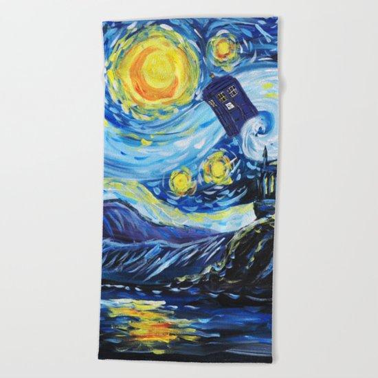 Tardis Starry Night Castle Beach Towel