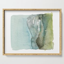 Emerald Mountain Watercolor Painting Art Print Serving Tray