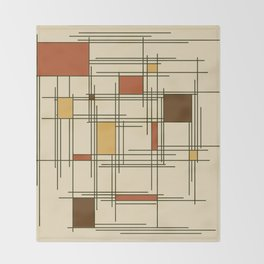 1940s Abstract Art Lines Throw Blanket