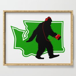Bigfoot walk in Washington Serving Tray