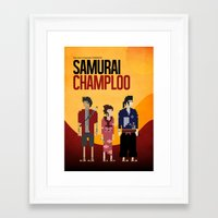 samurai champloo Framed Art Prints featuring Pixel Art - Samurai Champloo by kevin broke it