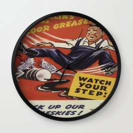 Vintage poster - Gremlins are Floor Greasers Wall Clock