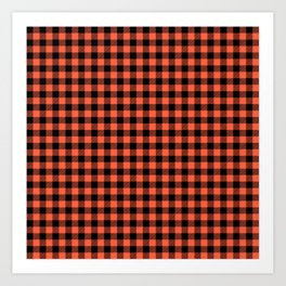 Living Coral Orange and Black Buffalo Check Plaid Art Print
