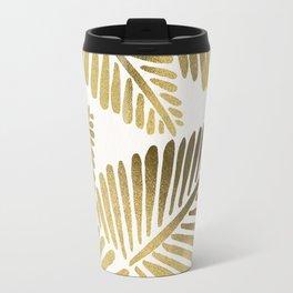 Tropical Banana Leaves – Gold Palette Travel Mug