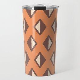 Diamond Pattern Orange and Brown Travel Mug