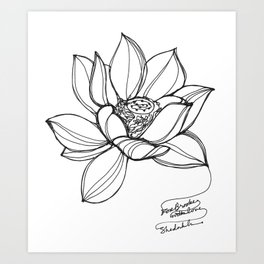 Lotus Flower (a continuous line drawing) Art Print