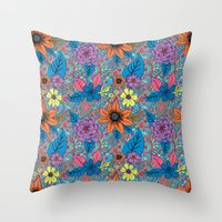70s Throw Pillows featuring 70s floral by Lara Gurney