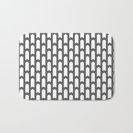 Black and white Geometric pattern with small gray arrows Bath Mat