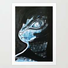 Cat Blue Art Print
