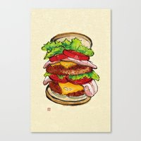 hamburger Canvas Prints featuring Hamburger by aibo