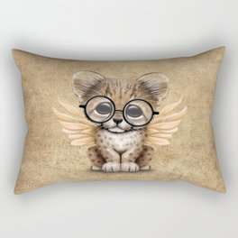 Cheetah Cub with Fairy Wings Wearing Glasses Rectangular Pillow