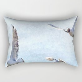 Three Seagulls Watercolor Rectangular Pillow
