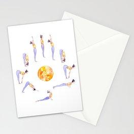Sun Salutation A Illustration | Watercolor Yoga Art | Surya Namaskar Stationery Cards