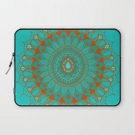 Hand-Drawn Bohemian Mandala Turquoise & Rust Laptop Sleeve