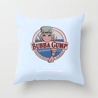 forrest gump Throw Pillows featuring STUPID IS AS STUPID DOES (Forrest Gump) by COMME UNE AFFICHE AU MUR