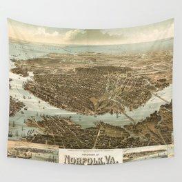 Vintage Pictorial Map of Norfolk Virginia (1892) Wall Tapestry