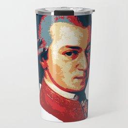 Mozart Minimalistic Pop Art Travel Mug