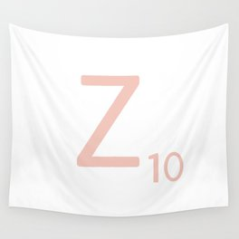 Pink Scrabble Letter Z - Scrabble Tile Art and Accessories Wall Tapestry