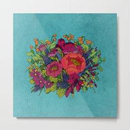 Wildflowers Bouquet in Blue Metal Print