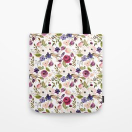 Violet and Pink Blossom on Gray Tote Bag