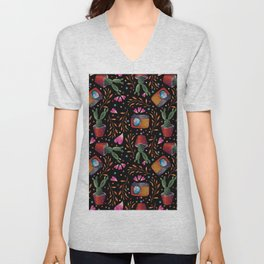 Photography Pattern, Hand Drawn Illustration with Camera, Cactus, Shooter Colorful Design, Black Red Unisex V-Neck