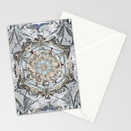 Newsprint Mandala in Silver, Topaz, and Sapphire Stationery Cards